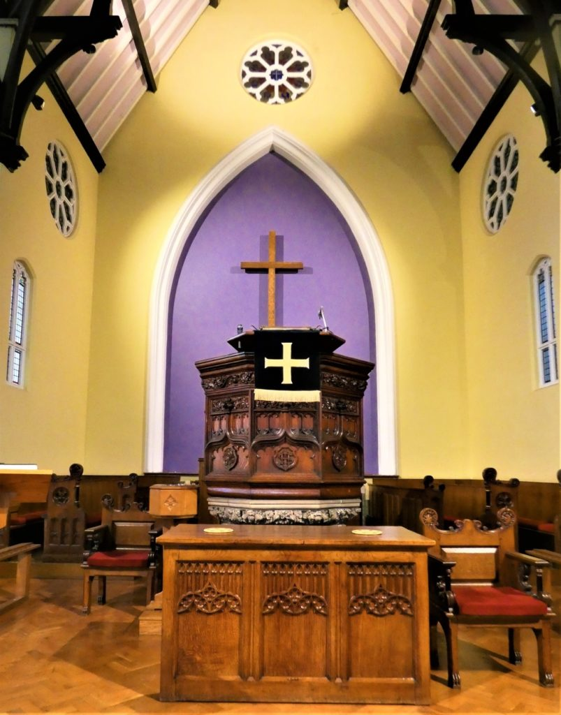 View of the Chancel area at Headingley Methodist Church, showing the original pulpit.