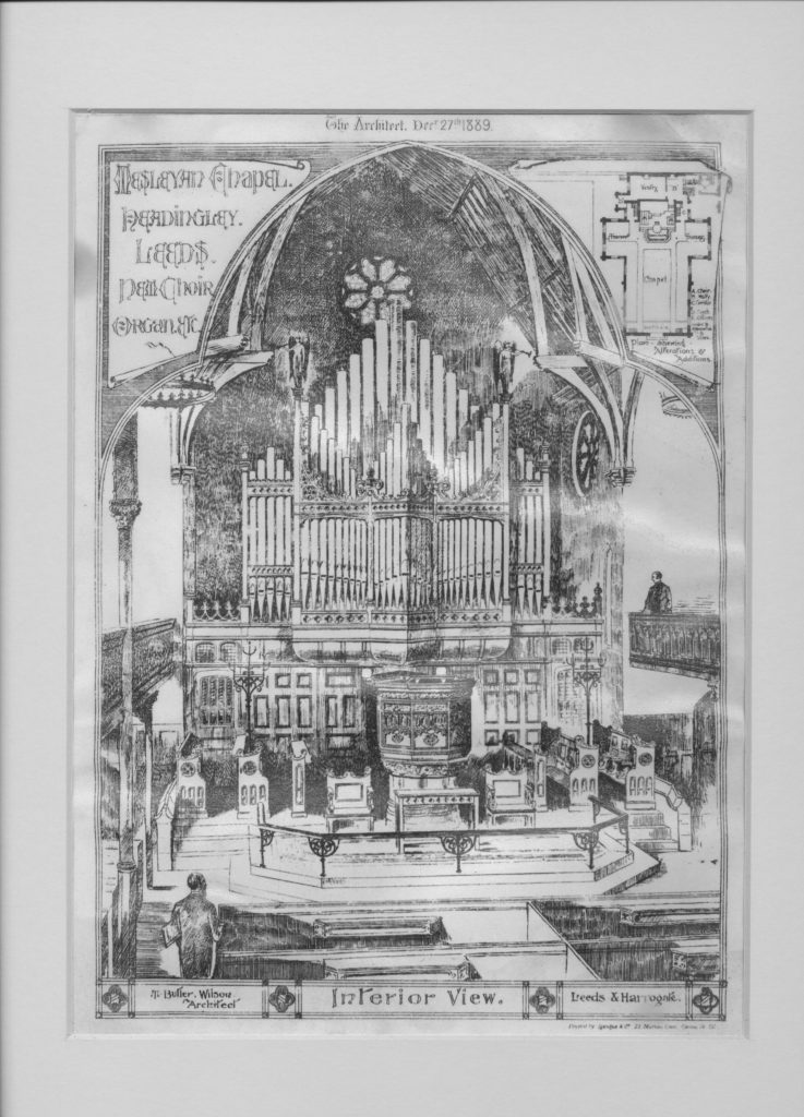 Drawing of the proposed changes to Headingley Methodist Church 1889