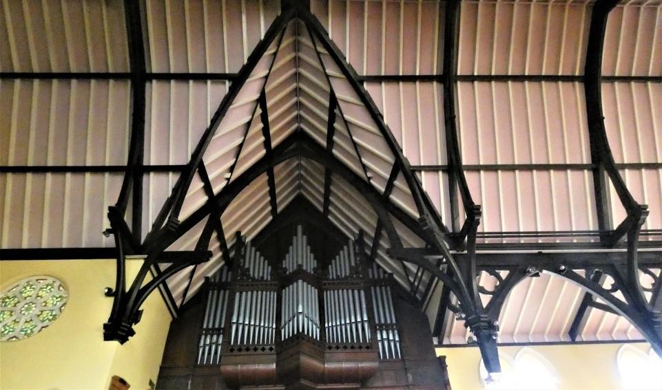 View of the organ pipes at Headingley Methodist Church