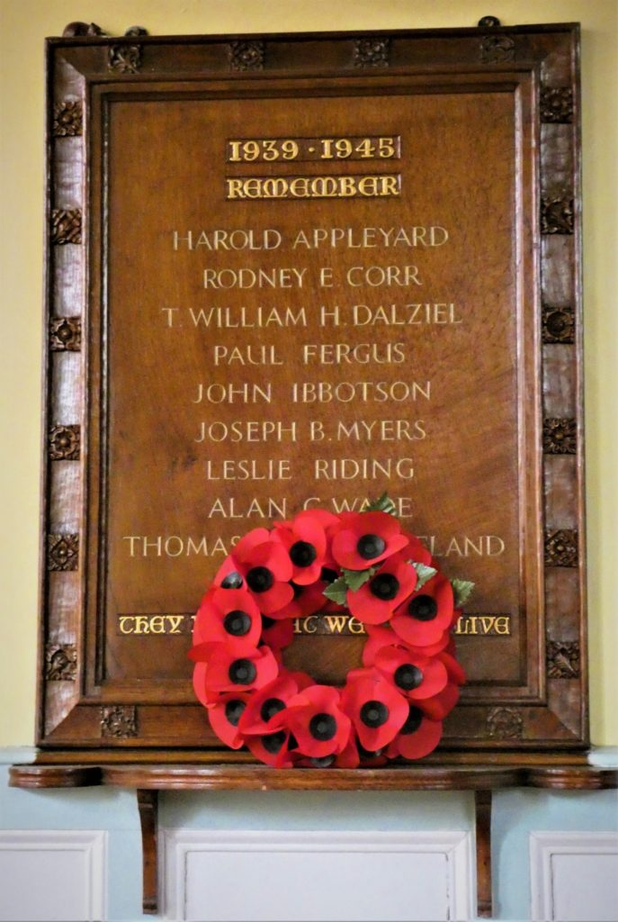 The memorial to the members of Headingley Methodist Church who lost their lives in World War II